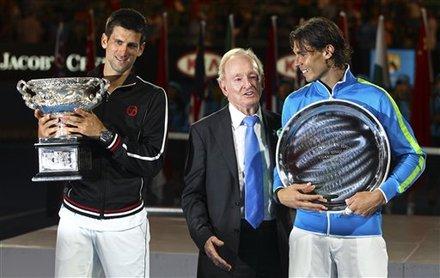 Novak Djokovic Of Serbia, Left,  And Runner-up Rafael Nadal Of Spain, Right,  Talk With Australian Tennis Legend Rod