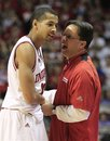 Indiana head coach Tom Crean, right, talks with Verdell Jones III after he is taken out late in the second half of an NCAA college basketball game against Iowa , Sunday, Jan. 29, 2012, in Bloomington, Ind. Indiana won 103-89.