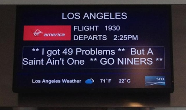 San Francisco airport sign mocks Saints, quotes Jay-Z