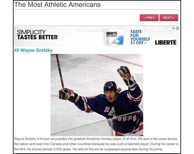 Wayne Gretzky the fifth-most athletic American, according to Teens Digest