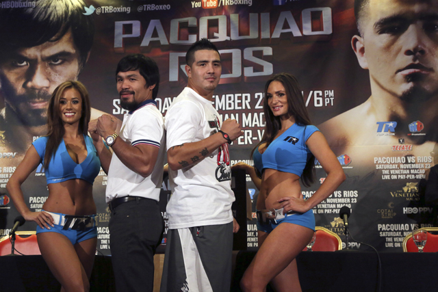 Manny Pacquiao signs on the dotted line to do drug tests for Brandon Rios fight