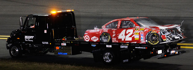 Who's got Montoya's wreck from the Daytona Explosion? Dale Earnhardt Jr., of course