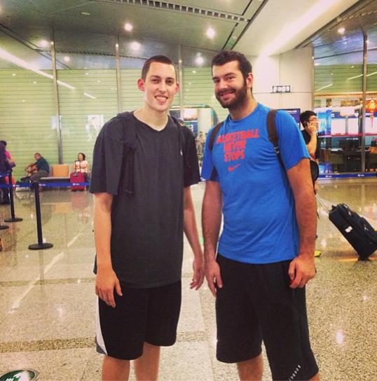 Kyle Wiltjer bumps into Josh Harrellson in China
