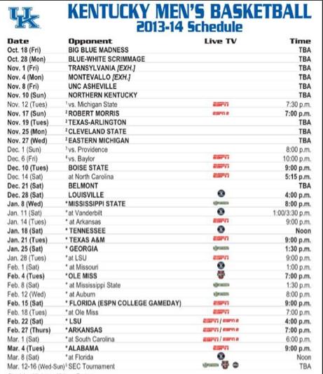 Kentucky basketball's SEC schedule released