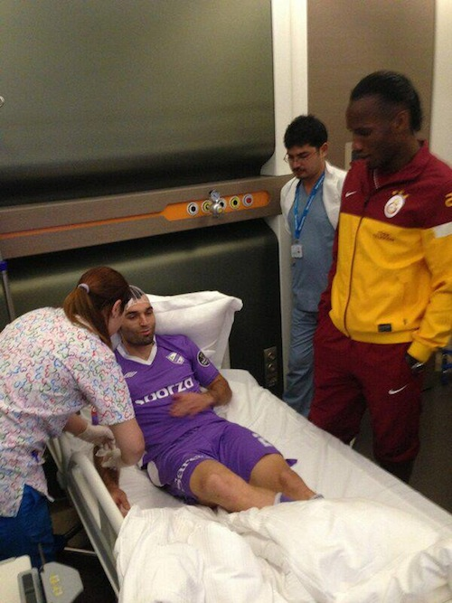 Didier Drogba visits opponent in hospital after clash of heads
