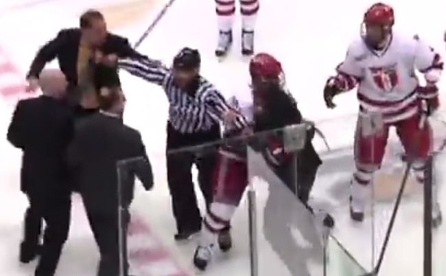 Bench-clearing brawl in NCAA hockey game involves coaches (VIDEO)
