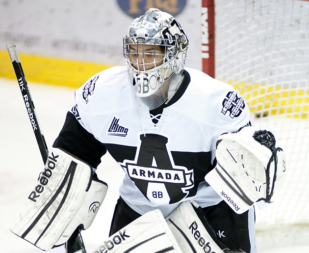 Blainville-Boisbriand's Etienne Marcoux earned a 25-save shutout in his team's 1-0 win over Baie-Comeau (CP / Ghyslain Bergeron)