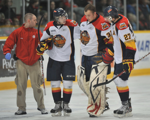 Erie Otters' Connor Crisp, after not playing all season, gets his 58 minutes of fame by going into OHL game in as an emergency goalie