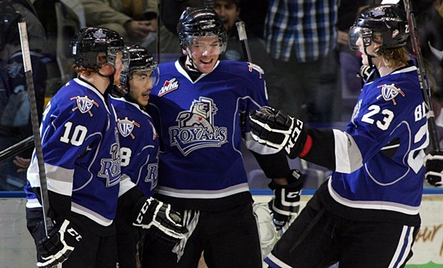 Royals forward Axel Blomqvist (right) scored the winner in overtime to steal two points from Swift Current. (Photo credit: victoriaroyals.com)