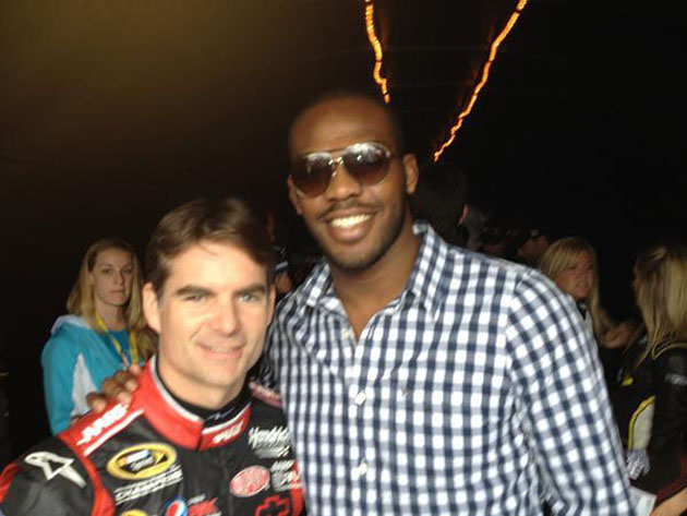 Photo: Jon Jones, Kate Upton and Jane Lynch pal around at Daytona 500