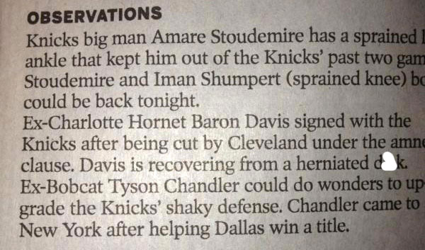 A newspaper typo surrounding Baron Davis' herniated disc causes all sorts of laughter