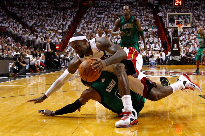 LeBron James #6 Of The Miami Heat Falls