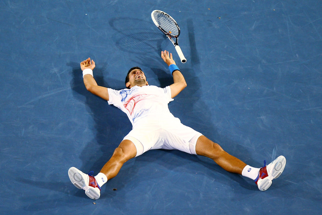 Novak Djokovic Of Serbia Celebrates Winning Match Point In His Semifinal Match Against Andy Murray Of Great Britain