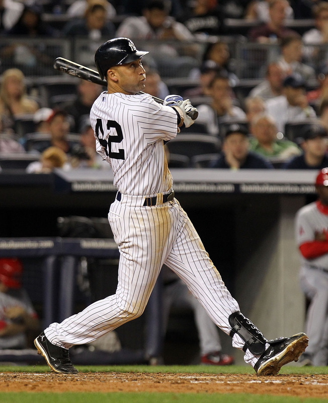 &nbsp; Derek Jeter Of The New York Yankees Hits