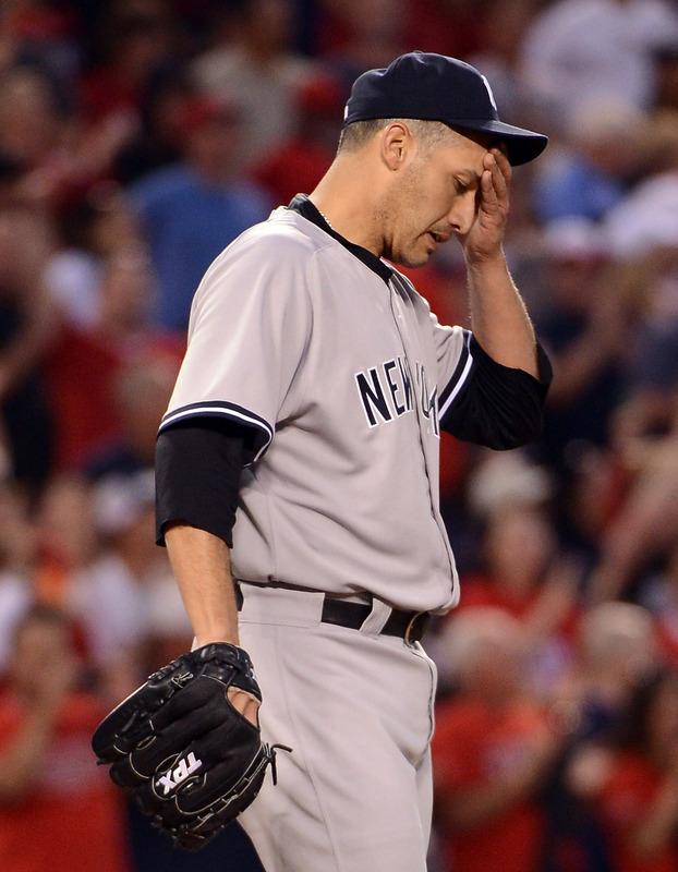 Andy Pettitte #46 Of The New York Yankees Reacts