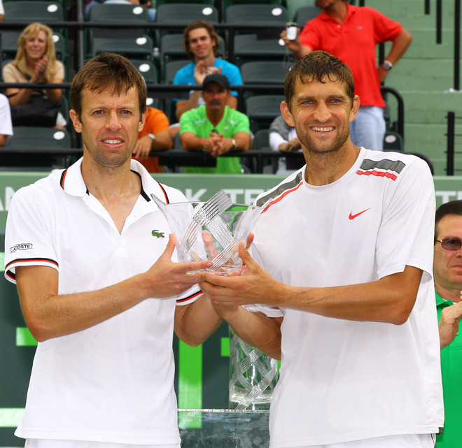 Max Mirnyi Of Belarus And Daniel Nestor Of Canada Hold The Runner Up Trophy