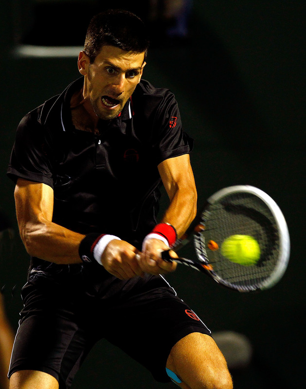 Novak Djokovic Of Serbia In Action