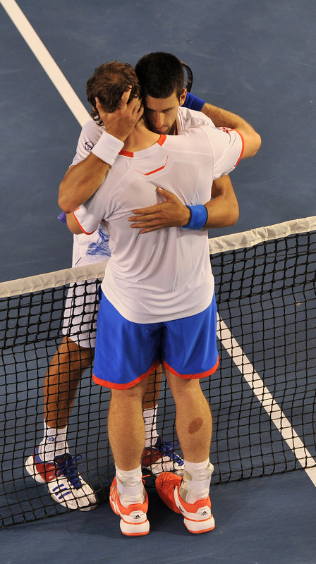 Novak Djokovic Of Serbia Embraces