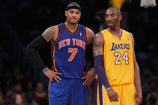 Carmelo Anthony #7 Of The New York Knicks And Kobe Bryant #24 Of The Los Angeles Lakers Talk