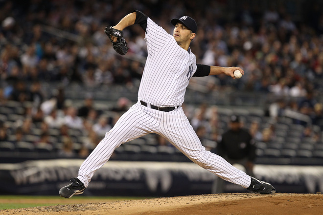 Andy Pettitte #46 Of The New York Yankees Pitches