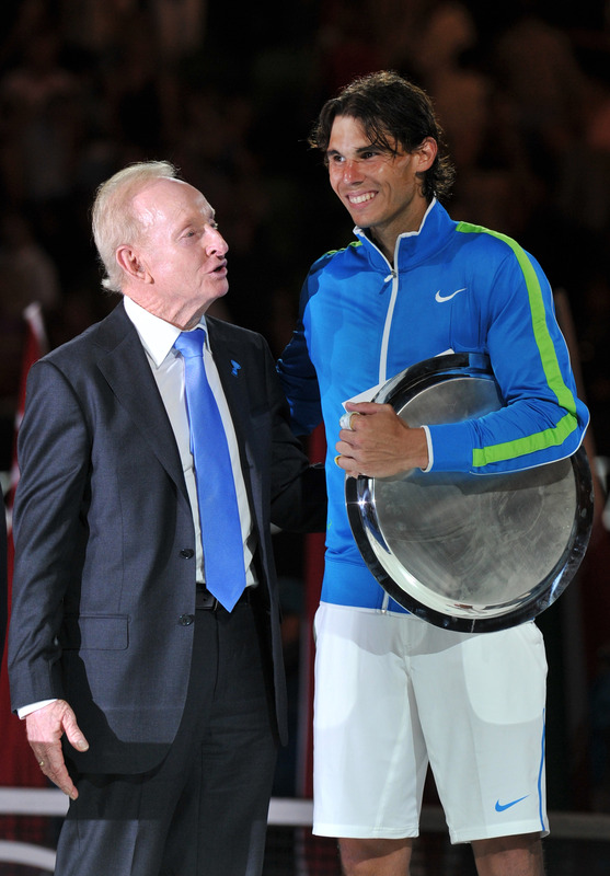 Tennis Legend Rod Laver (L) Speaks To Runner Up Rafael Nadal Of Spain (R) At The Awards Ceremony Following His Loss To