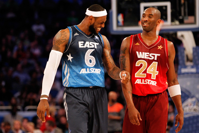 (L-R) LeBron James #6 Of The Miami Heat And The Eastern Conference Talks With Kobe Bryant #24 Of The Los Angeles