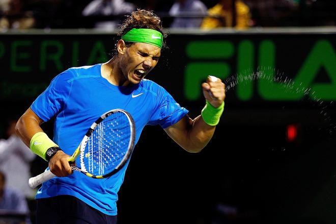 Rafael Nadal Of Spain Reacts
