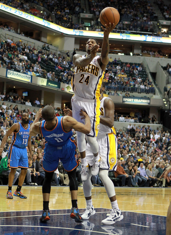 Paul George #24 Of The Indiana Pacers Shoots