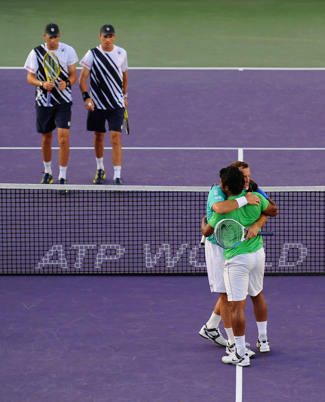 Bob Bryan And Mike Bryan Of The USA Look On As Leander Paes Of India And Radek Stepanek Of The Czech Republic
