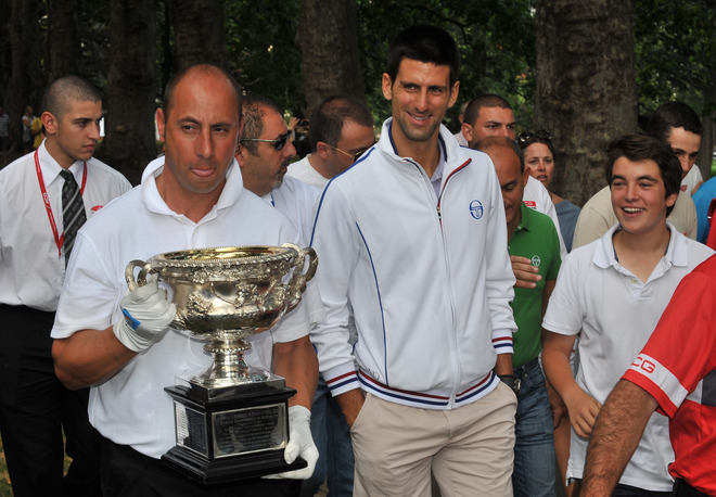 Novak Djokovic Of Serbia (C) Walks