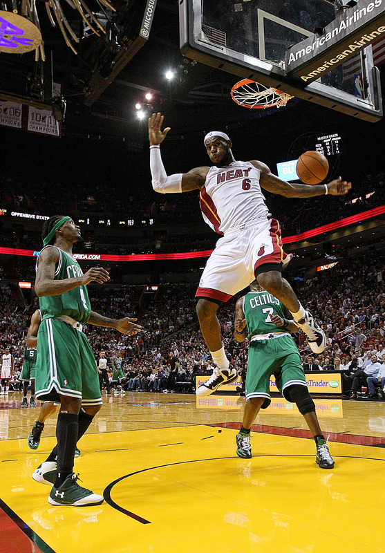 LeBron James #6 Of The Miami Heat Dunks