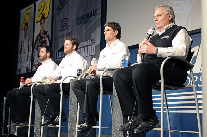 (L-R) Jimmie Johnson, Driver Of The #48 Lowe's/Kobalt Chevrolet, Dale Earnhardt Jr., Driver Of The #88 Diet Mountain