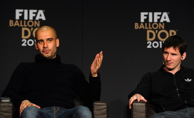 Nominee For The FIFA World Coach Of The Year For Men's Football, Barcelona's Spain Coach Pep Guardiola (L), And