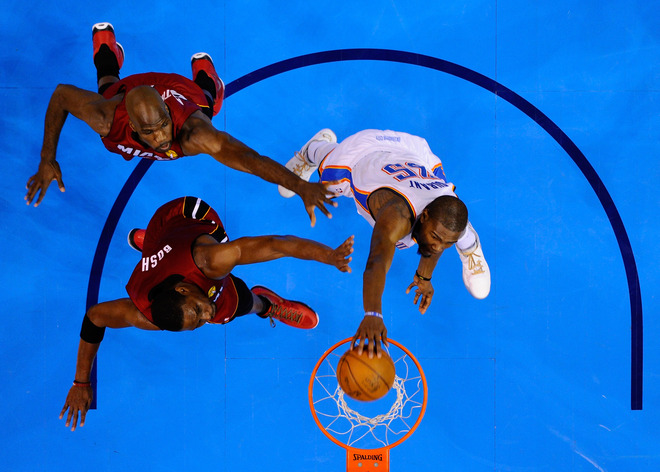 Kevin Durant #35 Of The Oklahoma City Thunder Dunks