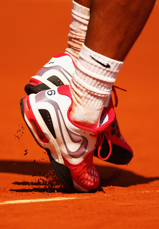 Rafael Nadal Of Spain's Shoes Displaying The Number Six In Reference To The Number Of Times He Was Won The French