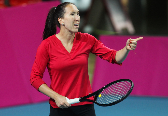 Serbia's Jelena Jankovictrains At The Spiroudome In Charleroi On January 31, 2012 For The Fed Cup First-round Match