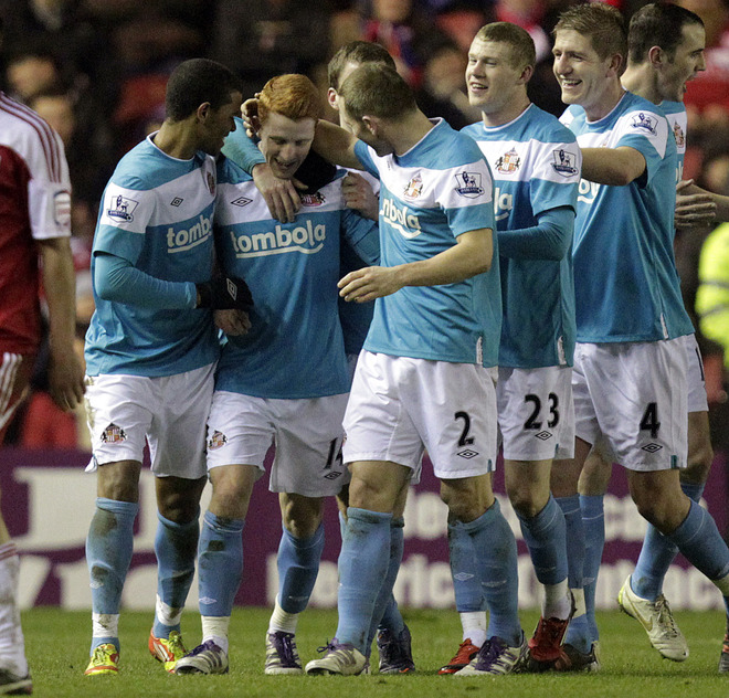 "Sunderland""s Jack Colback (2L) Celebrates Scoring The First Goal Against Middlesbrough With Fraizer Campbell (L) And"