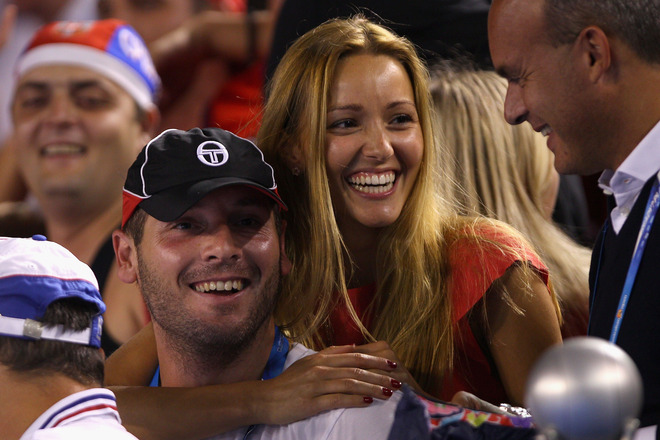 Jelena Ristic, Girlfriend Of Novak Djokovic Of Serbia Celebrates