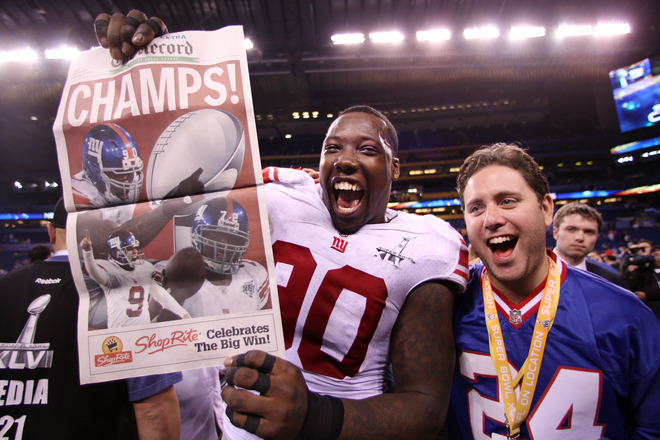Jason Pierre-Paul #90 Of The New York Giants Celebrates