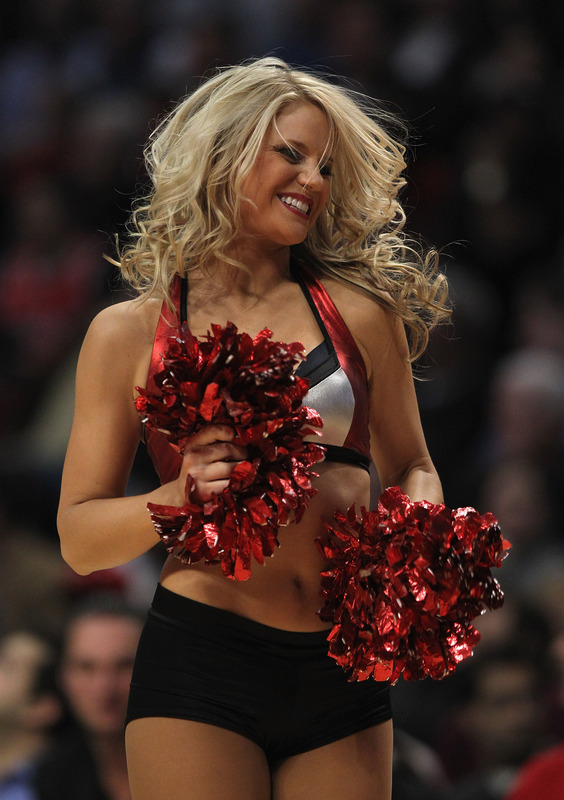 "A Member Of The Chicago Bulls Dance Team ""The Luvabulls"" Performs"