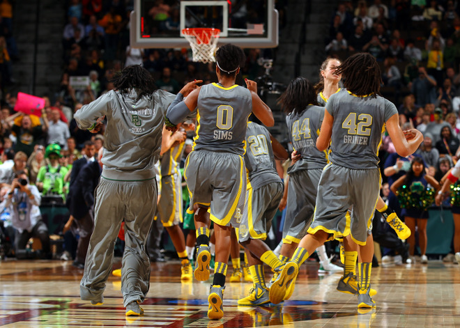 Odyssey Sims #0 And Brittney Griner #42 Of The Baylor Bears Celebrate With Their Teammates