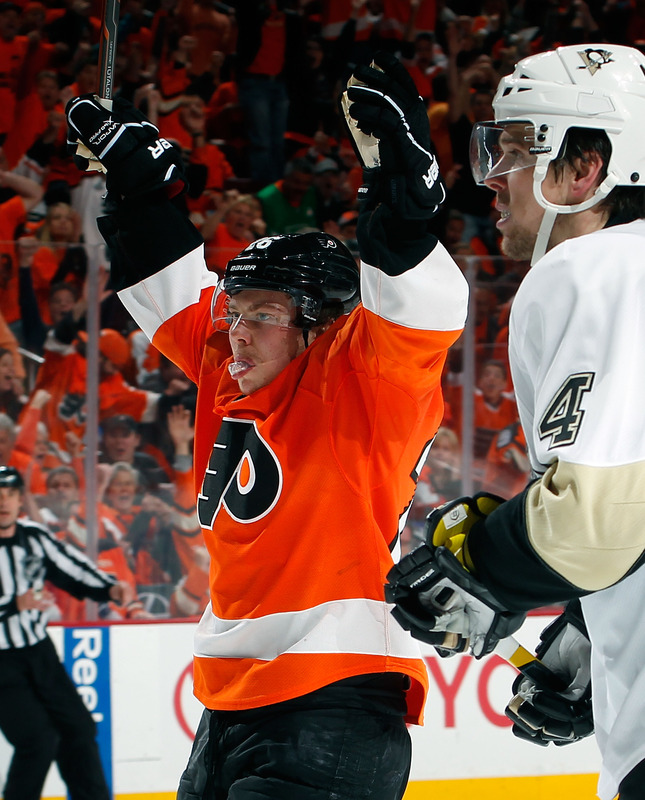 TOP OF COLUMN: Matt Cooke and the Penguins' bench are silenced in Game 6 Sunday. ABOVE: The Flyers' Erik Gustaffson celebrates his long-distance wrister in front of Zbynek Michalek. -- Associated Press photos