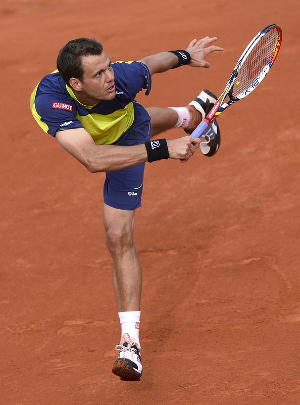 France's Paul-Henri Mathieu Hits
