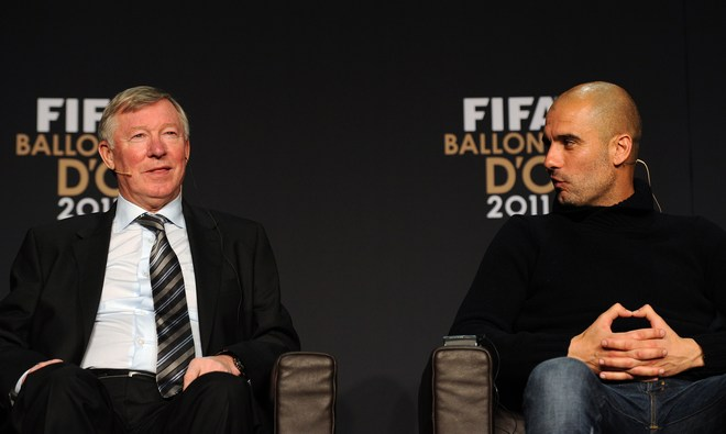 Nominees For The Fifa World Coach Of The Year For Men's Football, Sir Alex Ferguson (L), Manager Of Manchester United