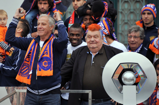Montpellier's Football Club President Louis Nicollin (R) And Montpellier's French Coach Rene Girard (L) Celebrate With
