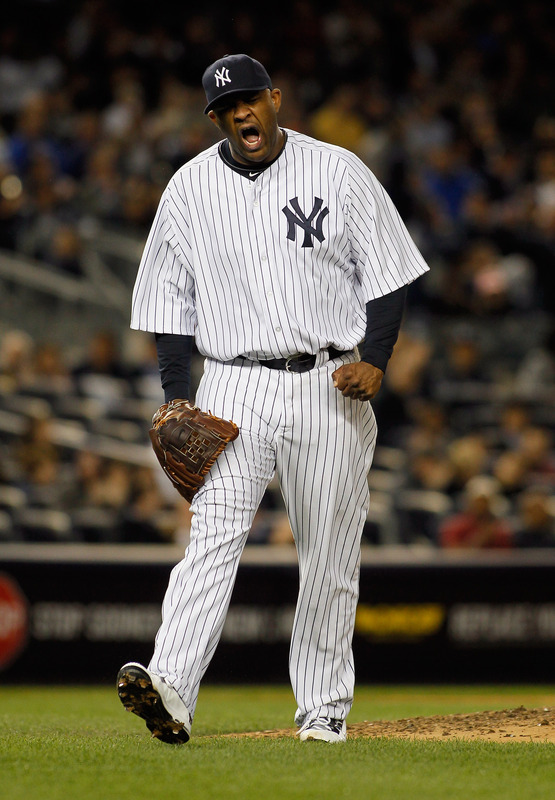 CC Sabathia #52 Of The New York Yankees Reacts