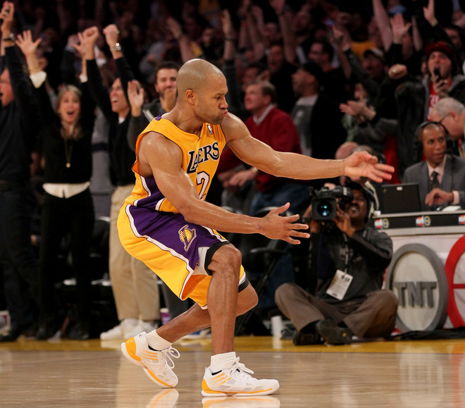 Derek Fisher #2 Of The Los Angeles Lakers Celebrates