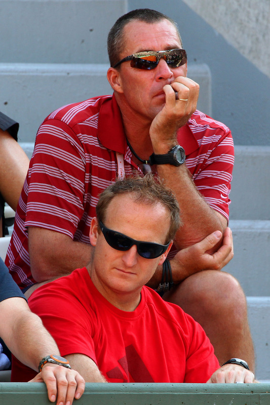 Ivan Lendle (top), Coach Of Andy Murray Of Great Britain And Matt Little Watch Ther Match Between Andy Murray Of