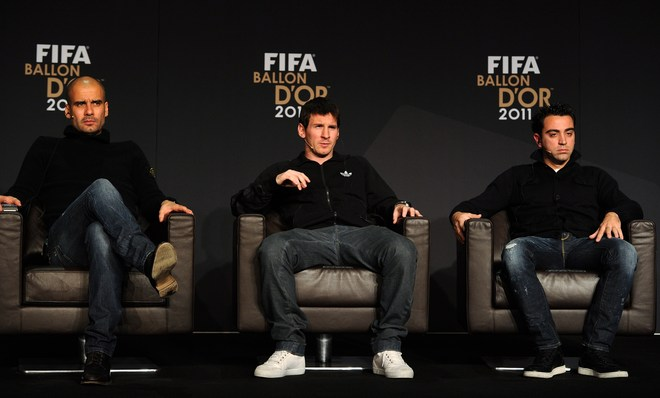 (L-R) Nominee For The Fifa World Coach Of The Year For Men's Football, Barcelona's Spain Coach Pep Guardiola And