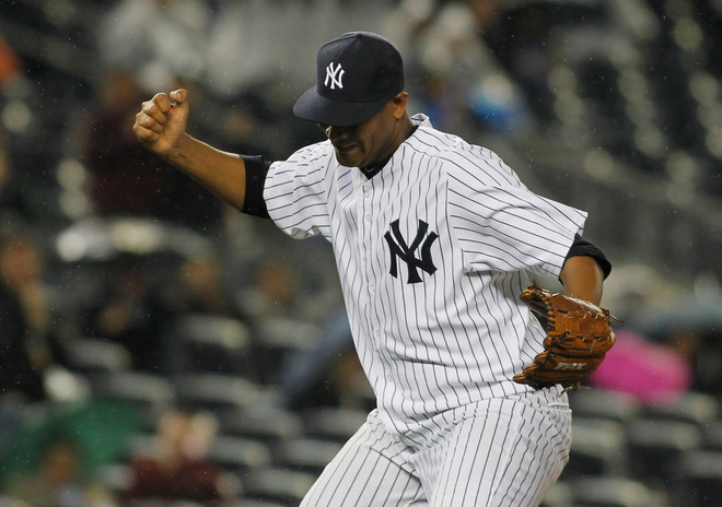 Ivan Nova #47 Of The New York Yankees Reacts